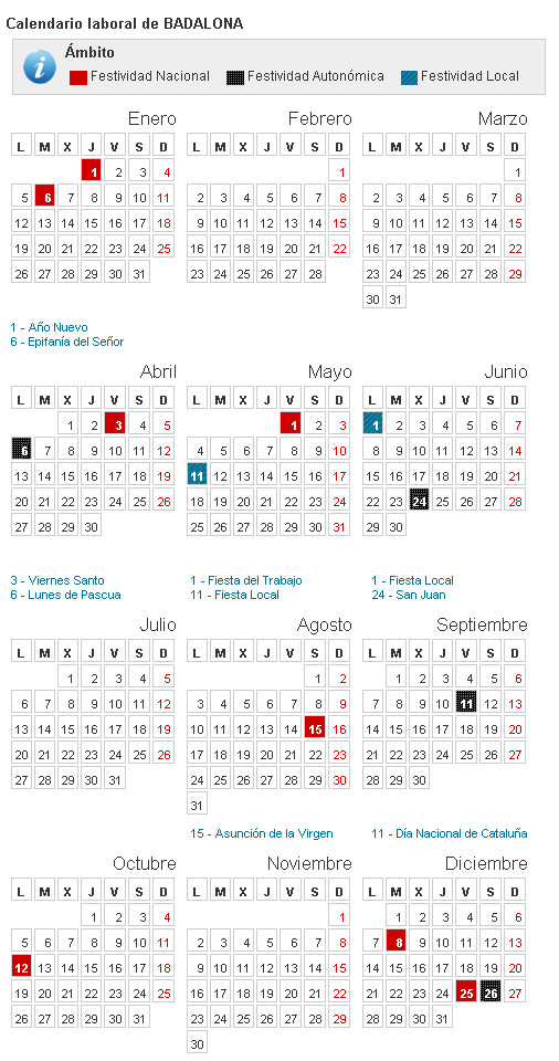 Calendario laboral badalona 2015